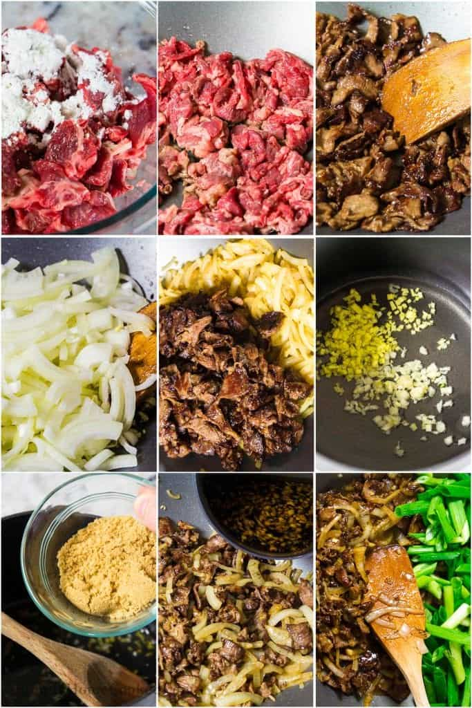 steps for making Mongolian beef. thinly sliced beef in a bowl with cornstarch. beef in a wok, garlic in a wok, sliced onion in a wok