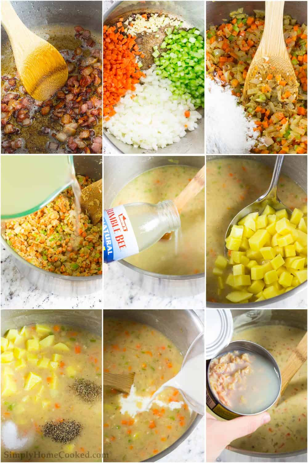 Step by step photo collage of preparing the vegetables and broths to create the clam chowder soup recipe