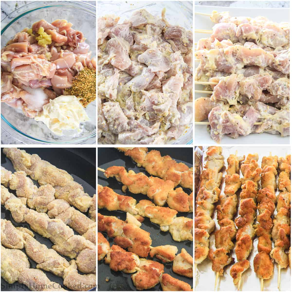 Photo collage of preparing the chicken to marinate and cooking them in the oven