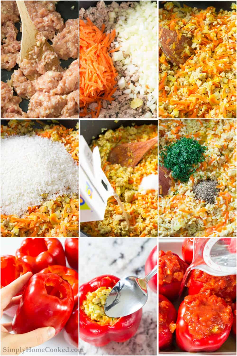 a 9 picture collage on how to make the best chicken stuffed peppers