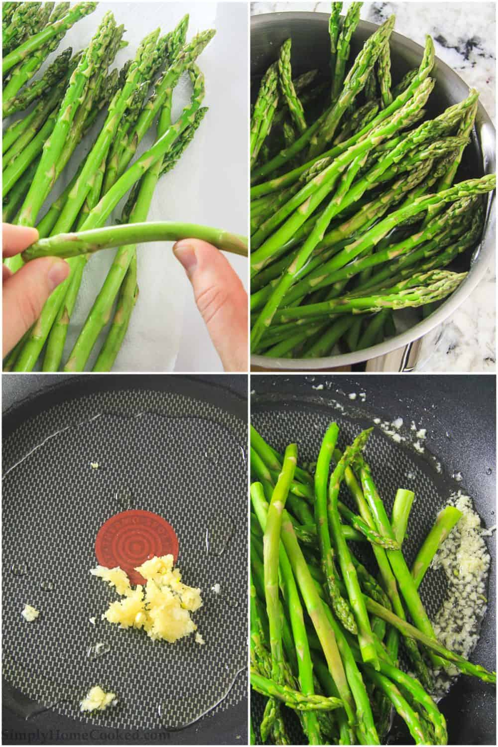 step by step pictures showing how to make garlic asparagus
