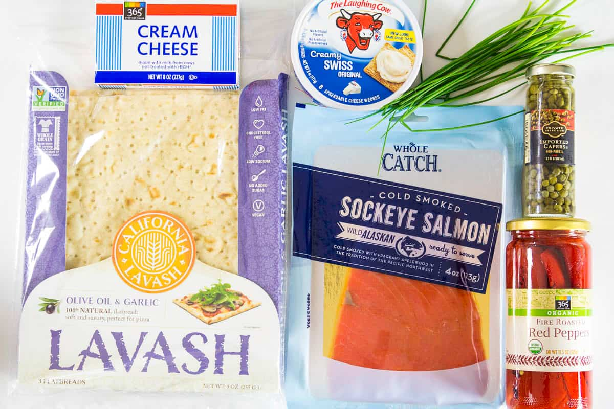 ingredients for smoked salmon wrap