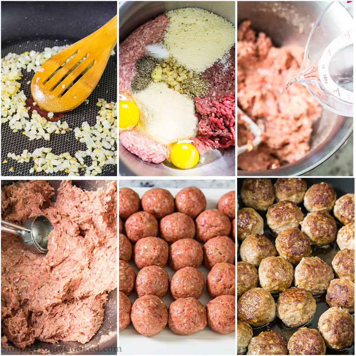 Step by step photo collage of preparing meatballs and cooking them for the best meatballs recipe
