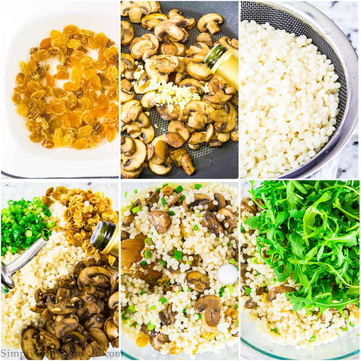 a 6 image collage of step by step instructions on how to make a healthy couscous salad