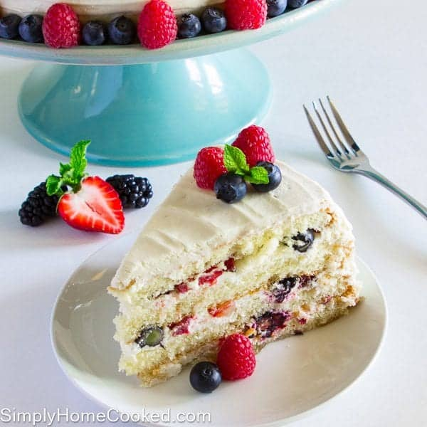 Mixed berry cake with strawberries, blueberries, raspberries, and blackberries