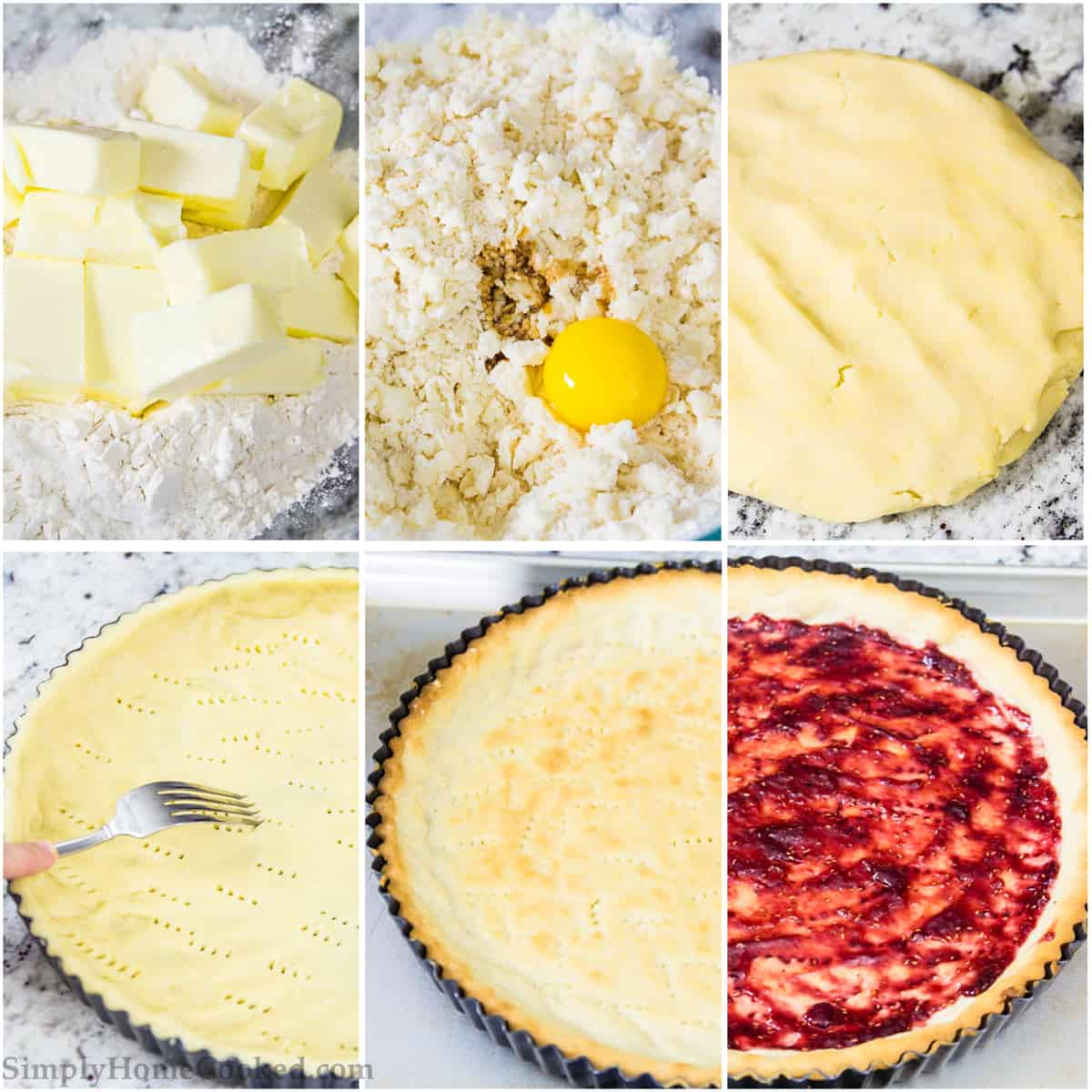 Photo collage of the process of mixing pie dough and forming crust, filling and preparing raspberry tart recipe