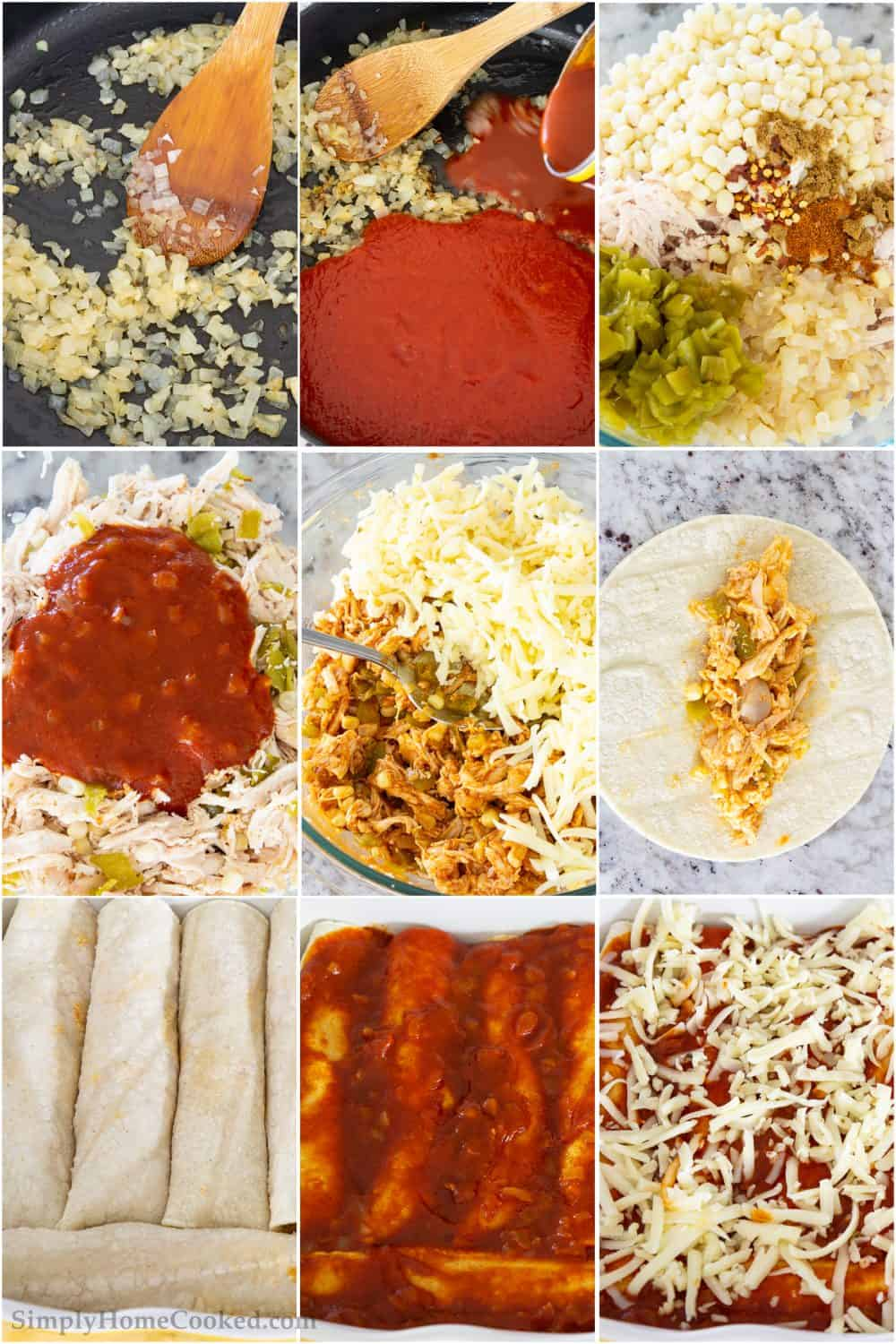 how to make chicken enchiladas with step by step pictures