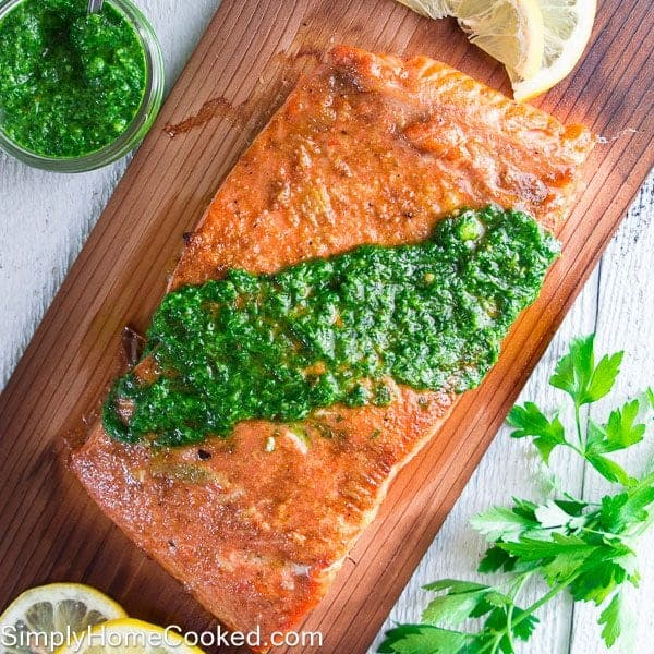 Grilled cedar plank salmon simply home cooked for Grilling fish on cedar plank
