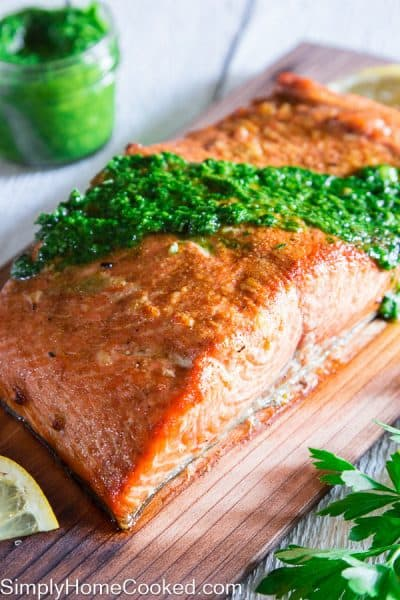 Grilled Cedar Plank Salmon - Simply Home Cooked