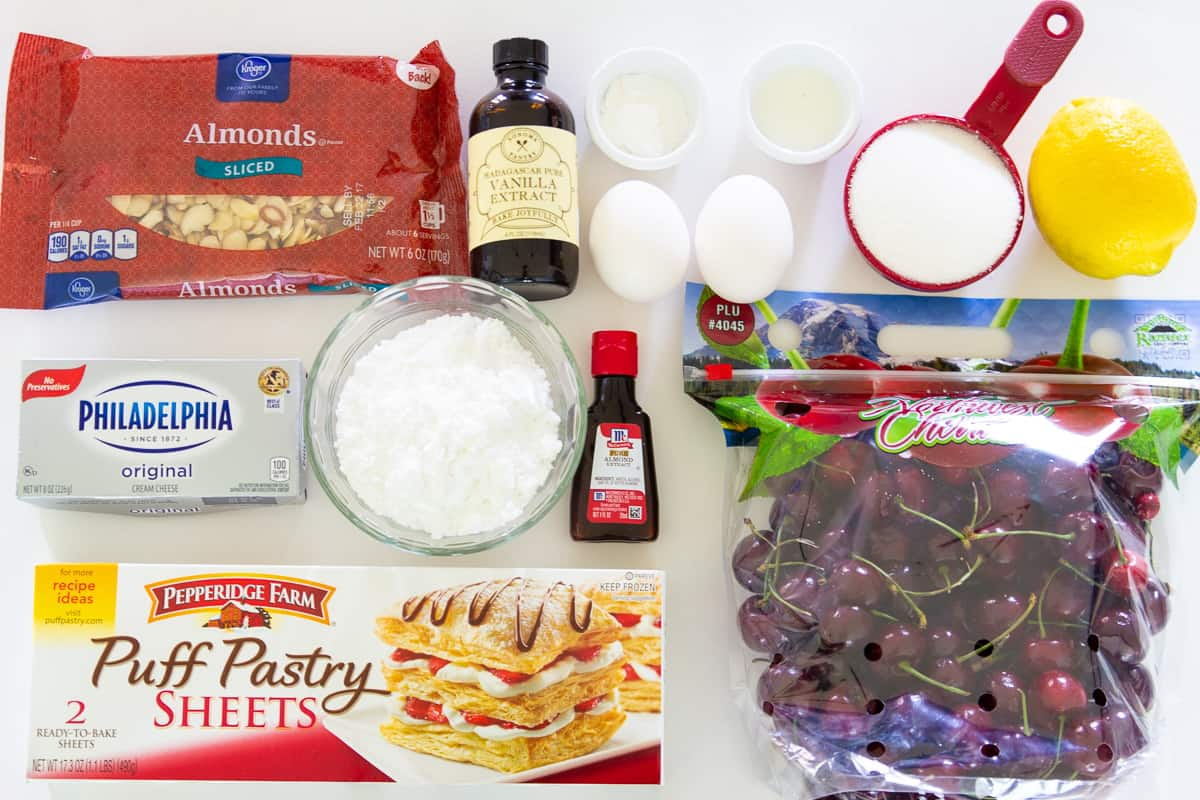 Puff pastry makes the dough for this cherry danish easy to make along with the other basic ingredients shown.