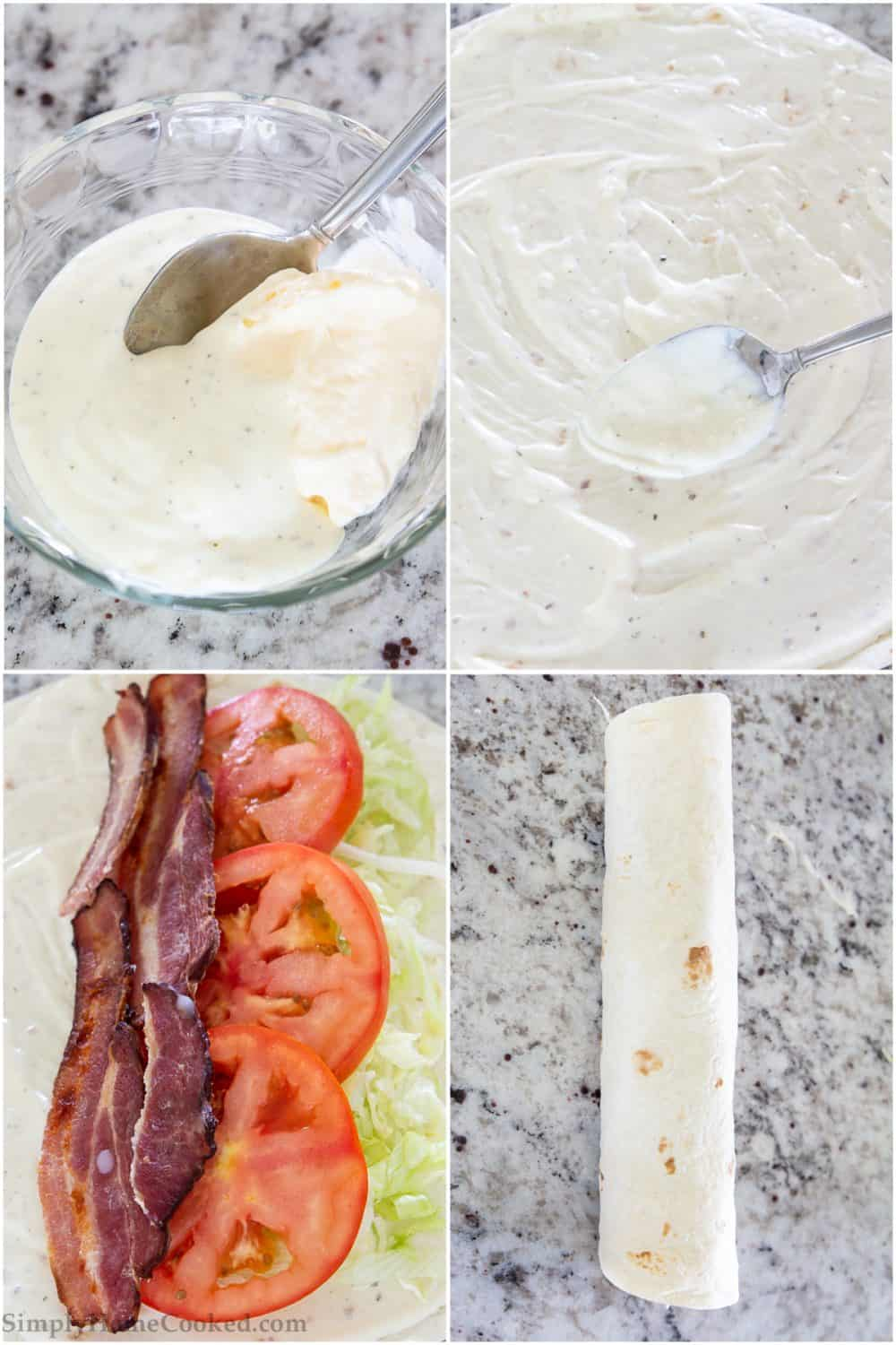 Four tiles showing steps to making Easy BLT Wraps: mixing dressings, spreading on tortilla, layering bacon, lettuce, and tomato, and then wrapping it all up.