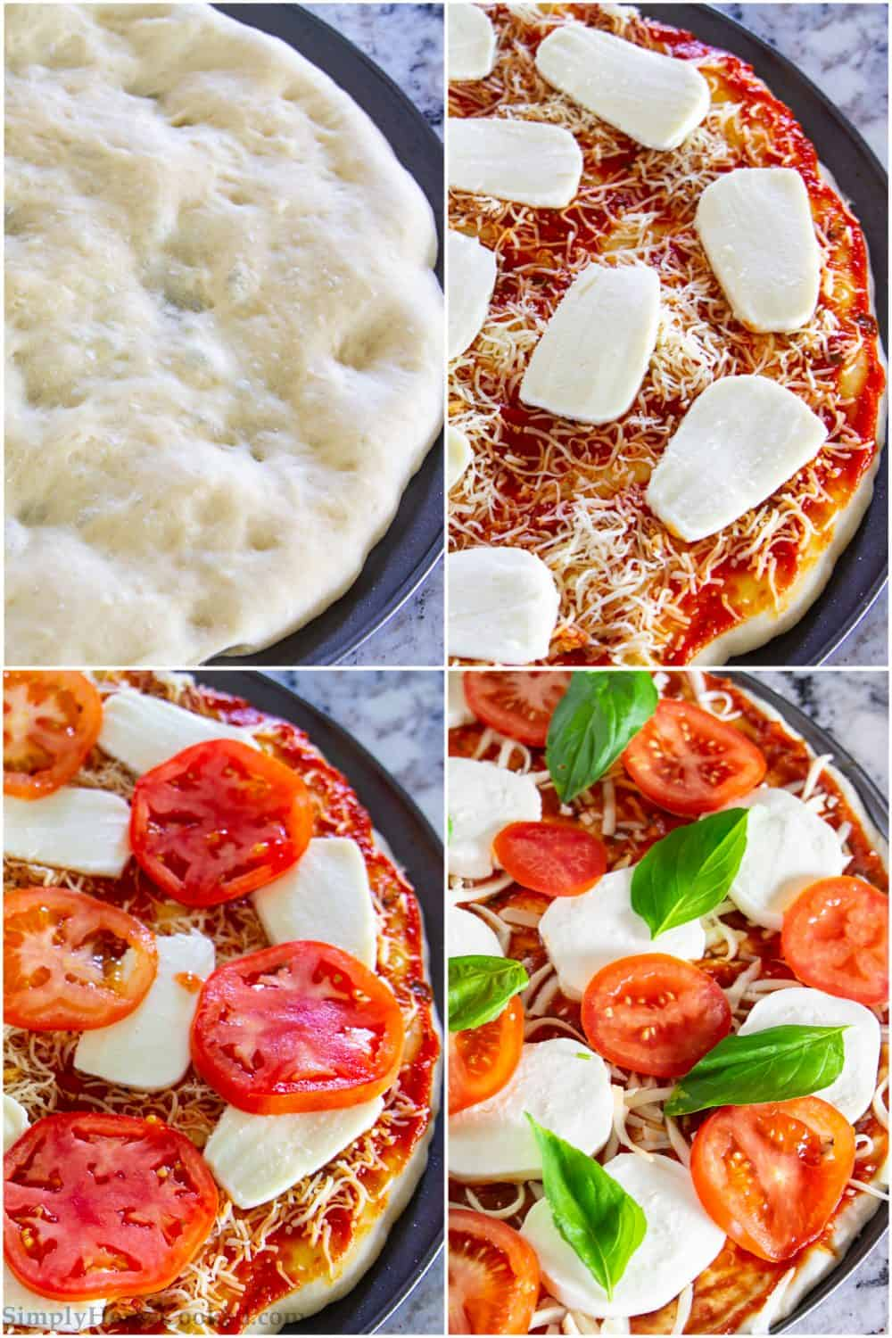 Step by step picture tutorial for making the margherita pizza recipe