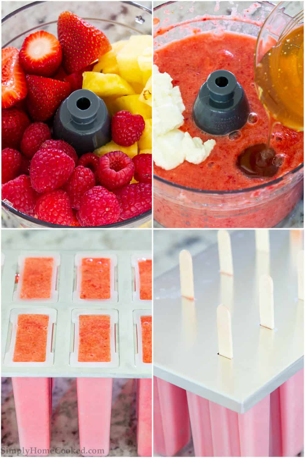 Photo collage of making fruit popsicles from blending to pouring into molds