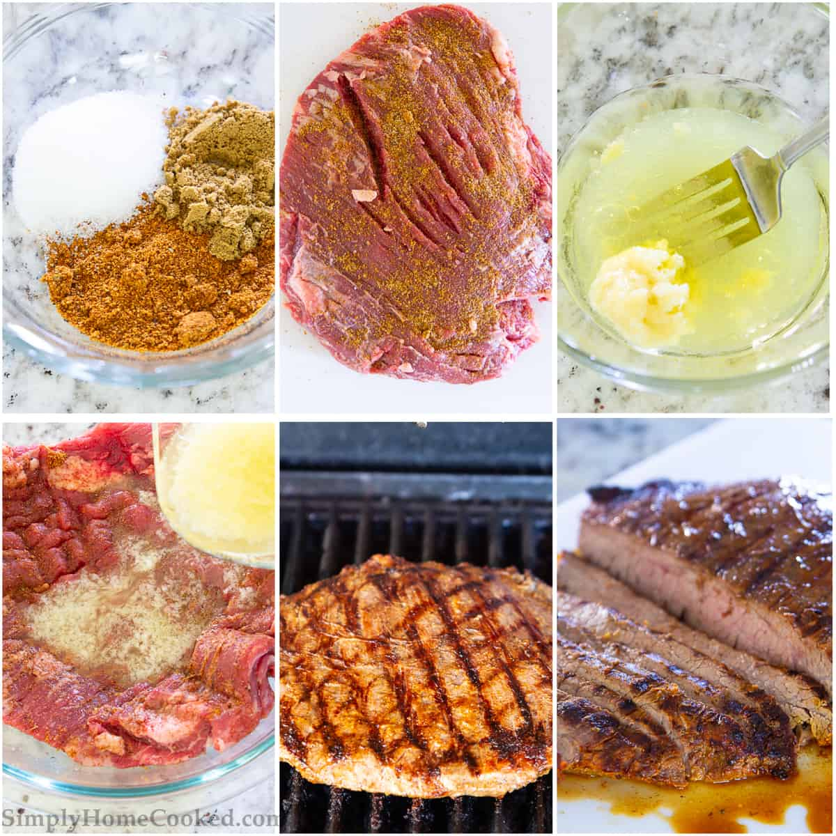 Step by Step photo collage of preparing spice and marinade for flank steak as well as grilling for the steak taco recipe
