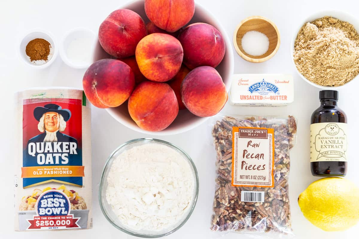 overhead image of ingredients needed to make an easy and delicious peach crisp