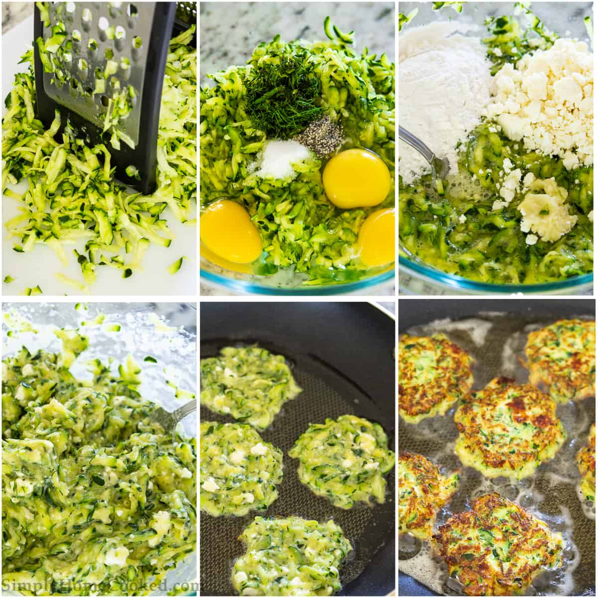 detailed step by step photos on how to make easy zucchini fritters using a box grater, egg, feta cheese, garlic, flour, and shredded zucchini