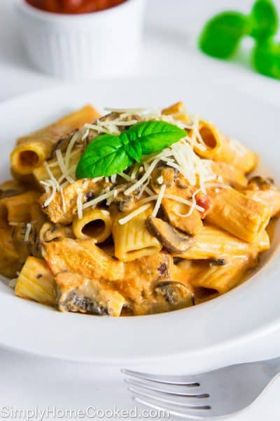 Creamy Rigatoni With Chicken And Mushrooms Recipe — Dishmaps