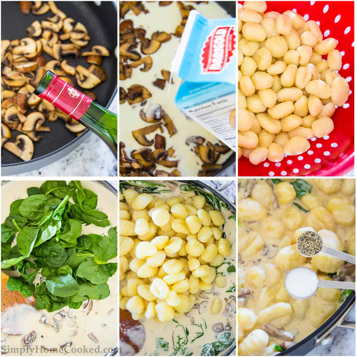 steps to make creamy mushroom and spinach gnocchi