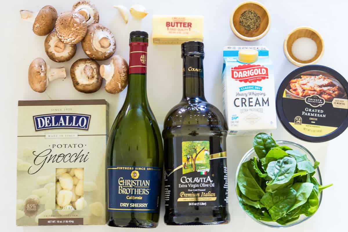 ingredients for creamy mushroom and spinach gnocchi