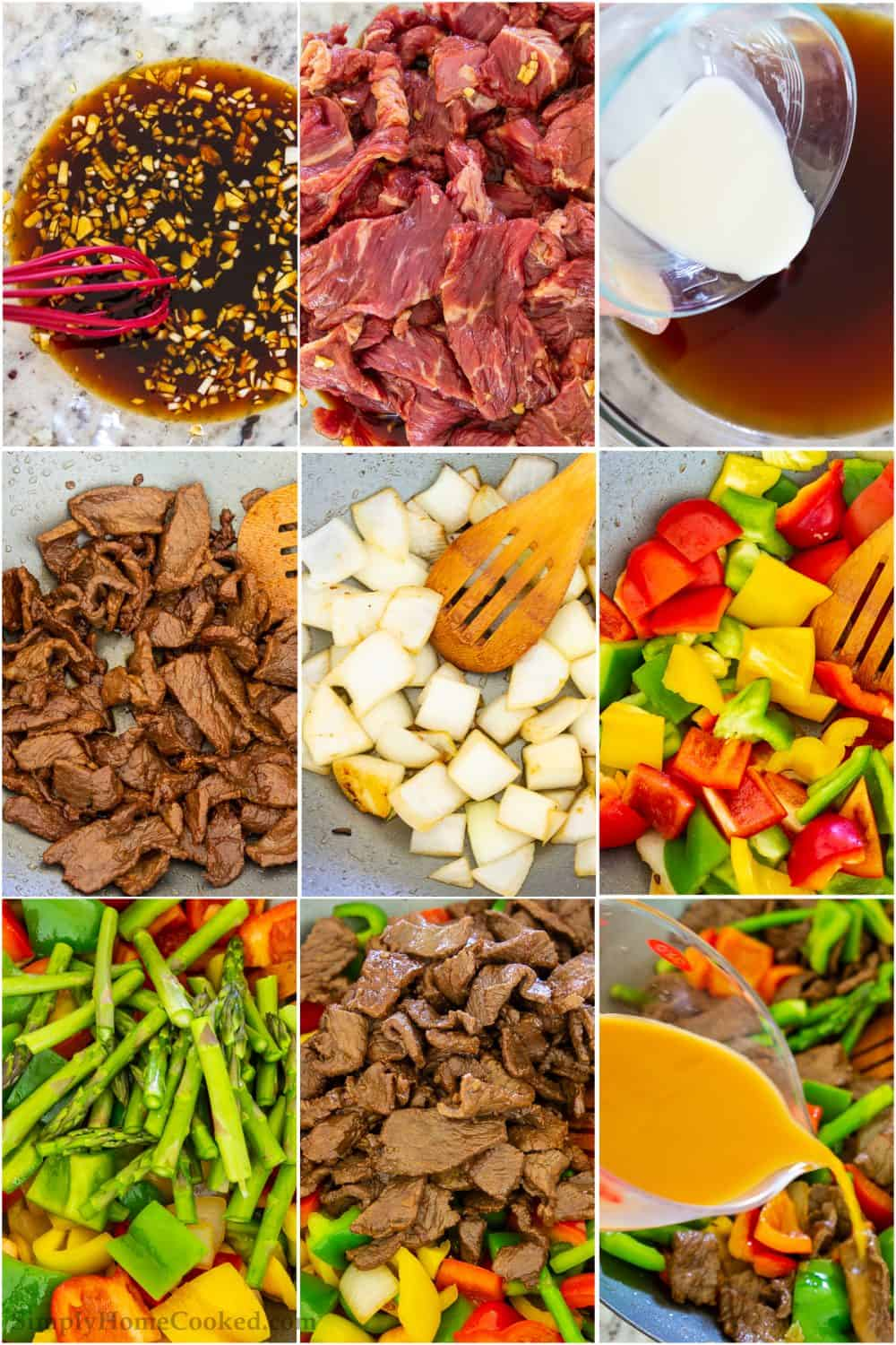 Nine tiles showing making a marinade, slicing steak, making a sauce, cooking the meat, sauteeing the onion and garlic, cooking the peppers and asparagus, and then cooking them altogether.