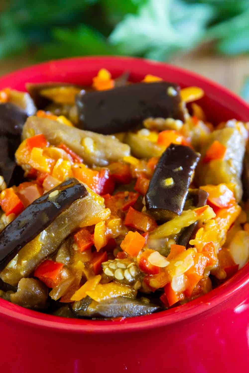 A closeup of roasted eggplant salad with peppers and carrots in a red bowl