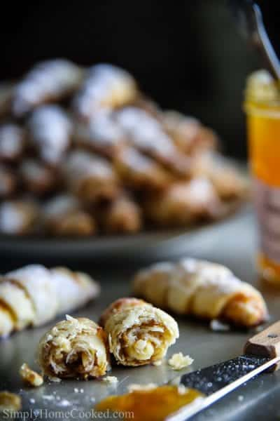 rugelach cookies with powdered sugar
