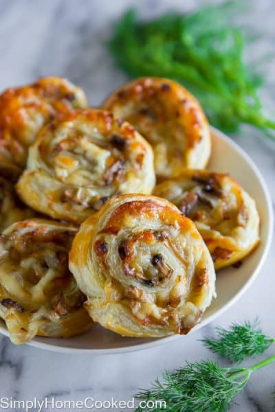 cheesy mushroom pinwheels on a plate