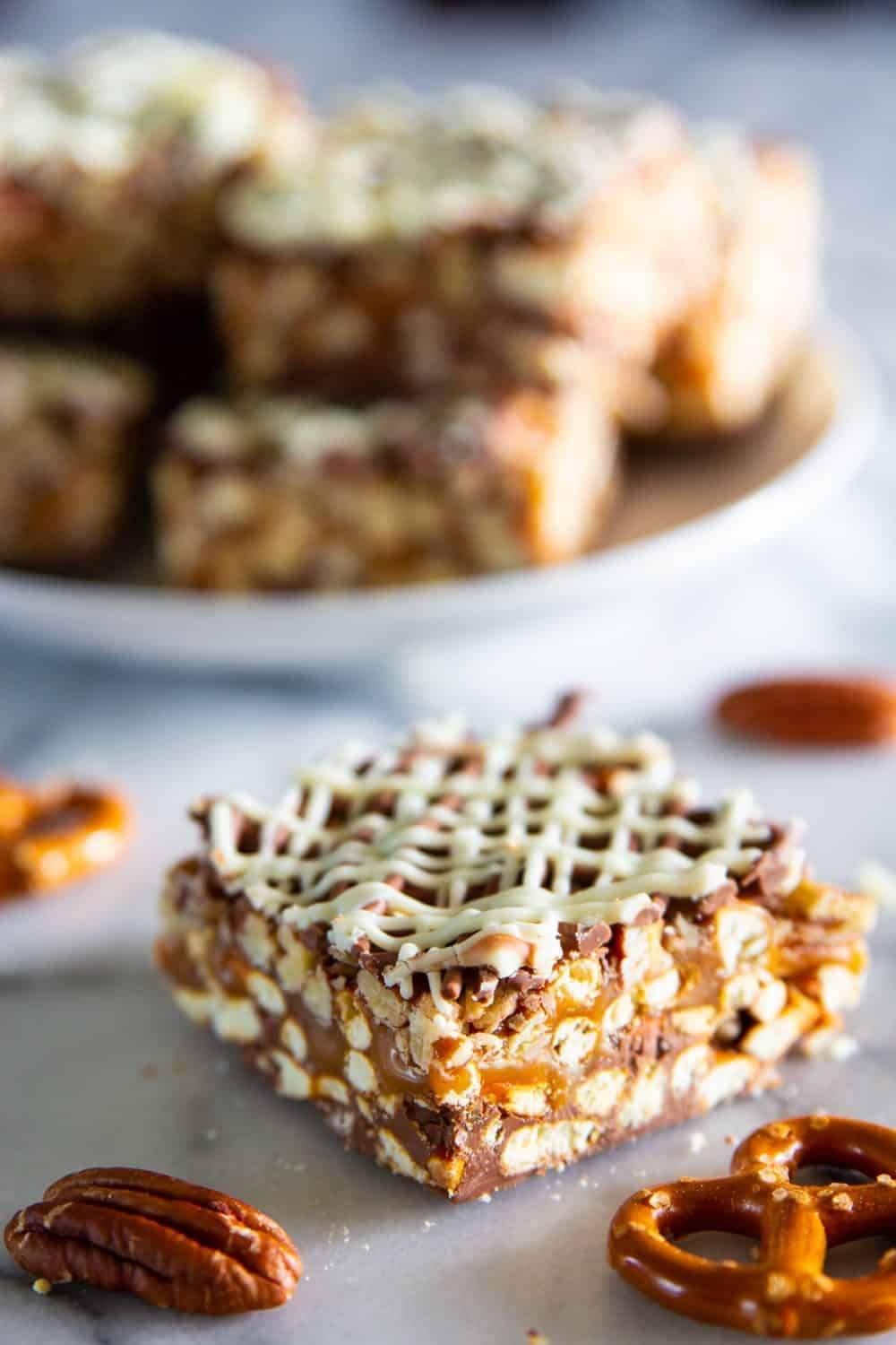 Chocolate Caramel Pretzels bars are a perfect combination of salty and sweet to satisfy your cravings.