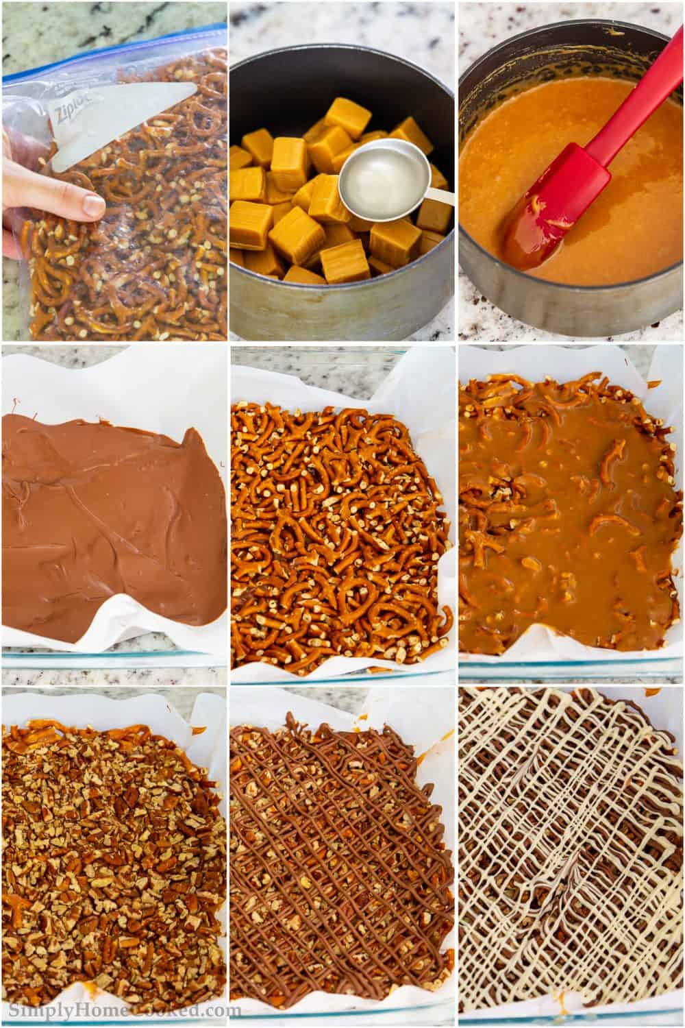 Follow our simple process of layering ingredients to build these delicious salty sweet chocolate caramel pretzels bars.