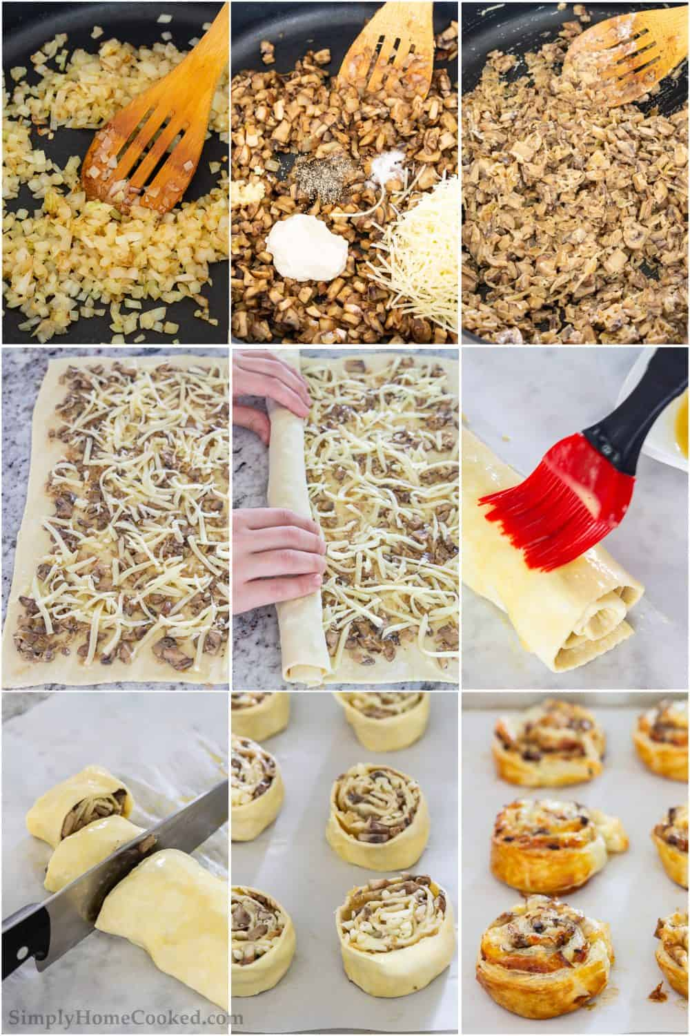 Step by step picture collage of how to prepare the mushroom puff pastry pinwheels including cooking vegetables, mixing together and loading onto puff pastry prior to baking.