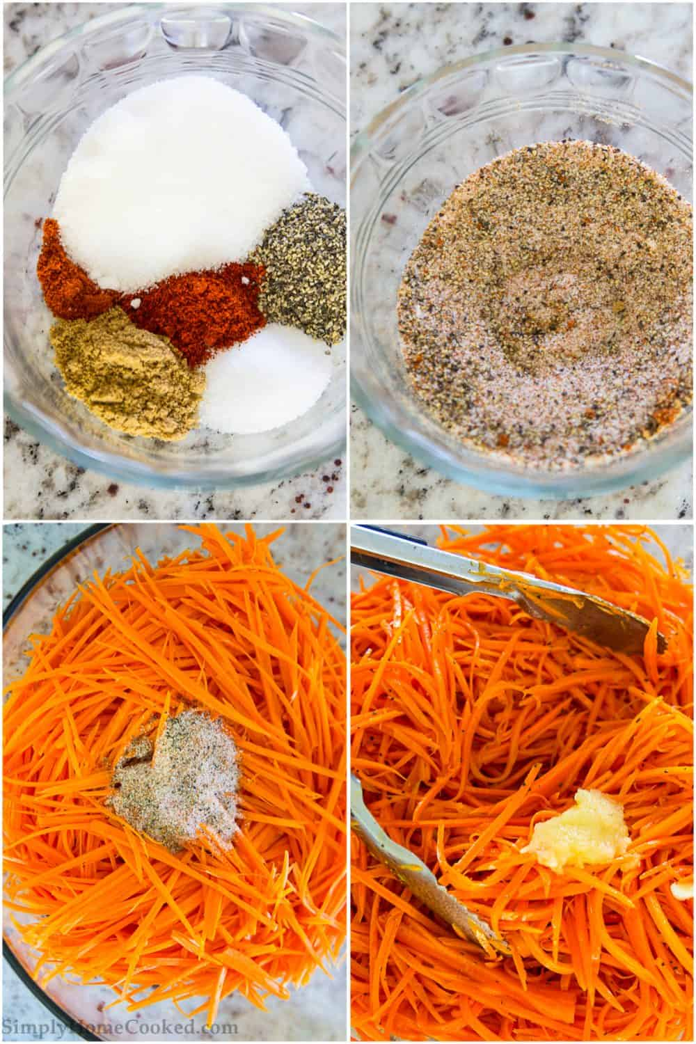 steps to make shredded carrot salad. paprika, cayenne, salt, black pepper, coriander in a glass bowl. shredded carrot and pressed garlic in a glass bowl