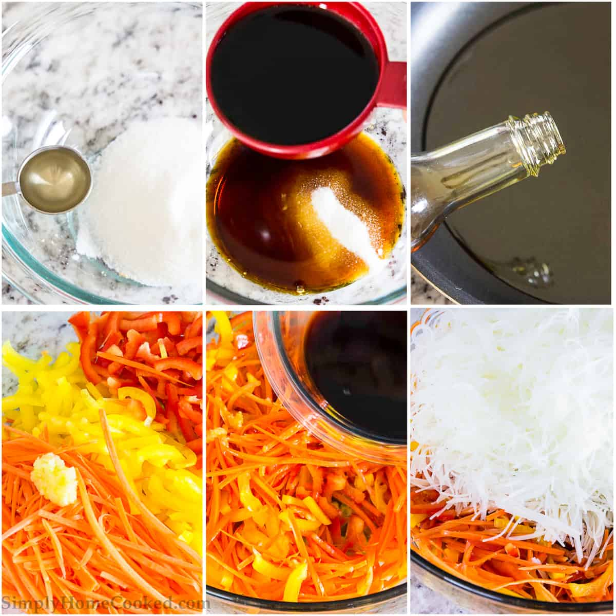 Photo collage of step by step process of measuring ingredients and preparing rice noodle salad