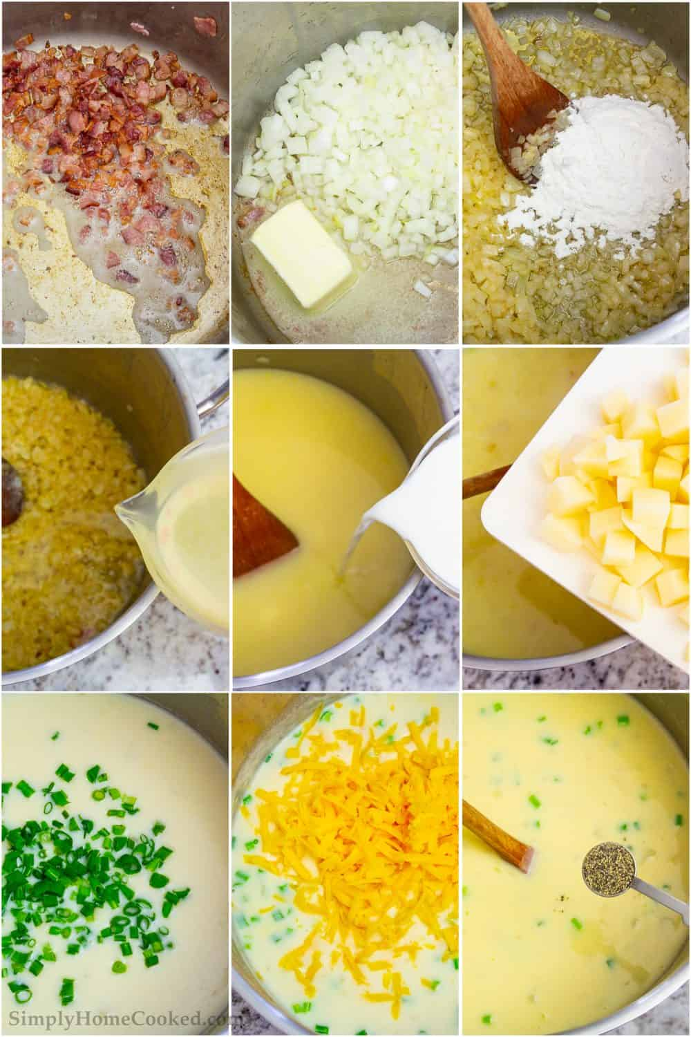 Step by step picture tutorial of cooking bacon, creating a roux, adding potatoes, and cheese to make this easy potato soup