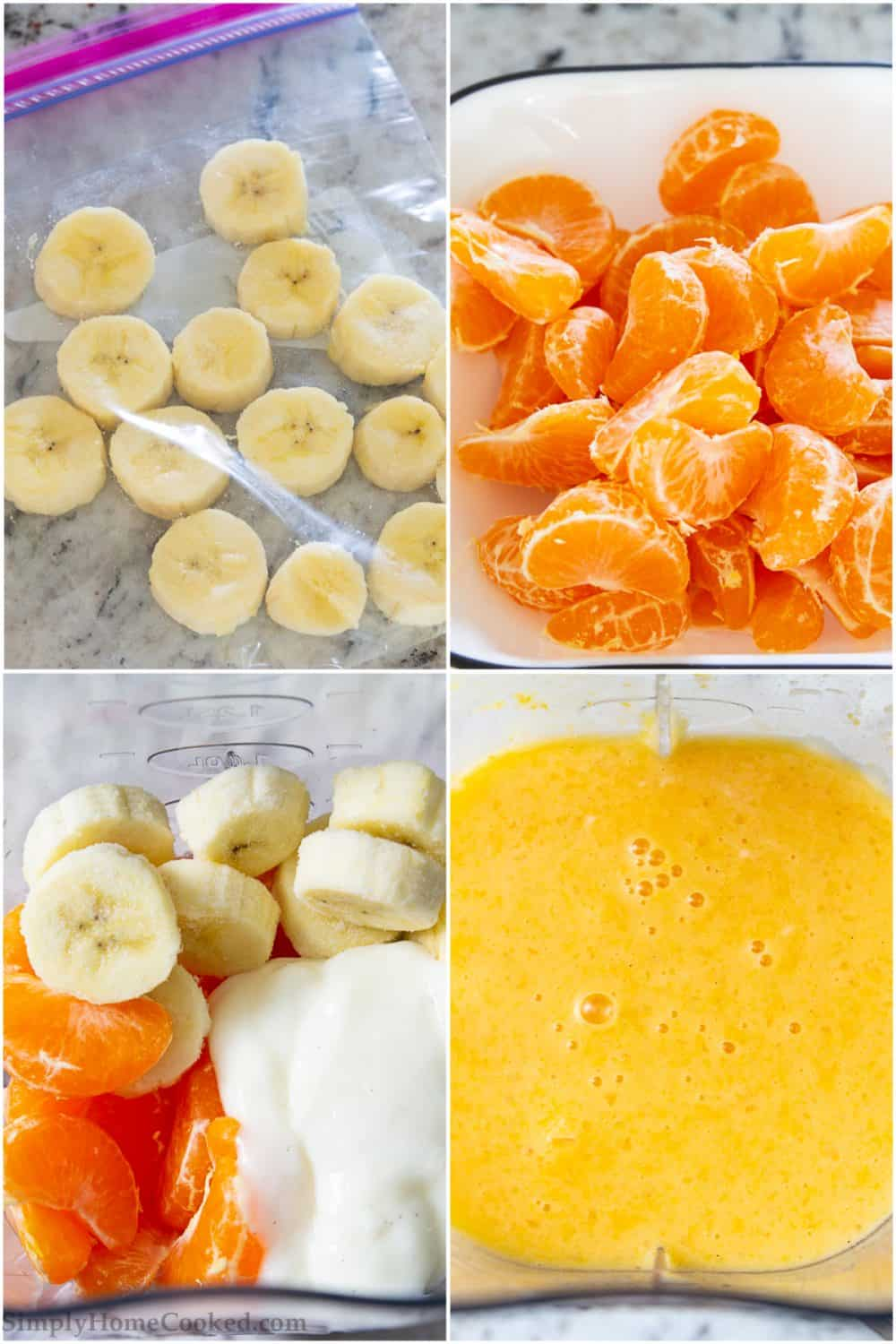 Collage tutorial of preparing bananas and mandarins for the freezer then adding with other ingredients into a blender to create the banana smoothie recipe with mandarins