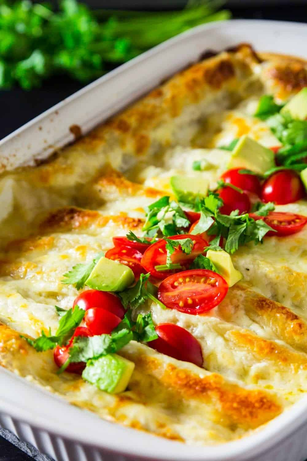 white sauce chicken enchiladas in a baking dish with chopped tomatoes, avocado, and cilantro on top.