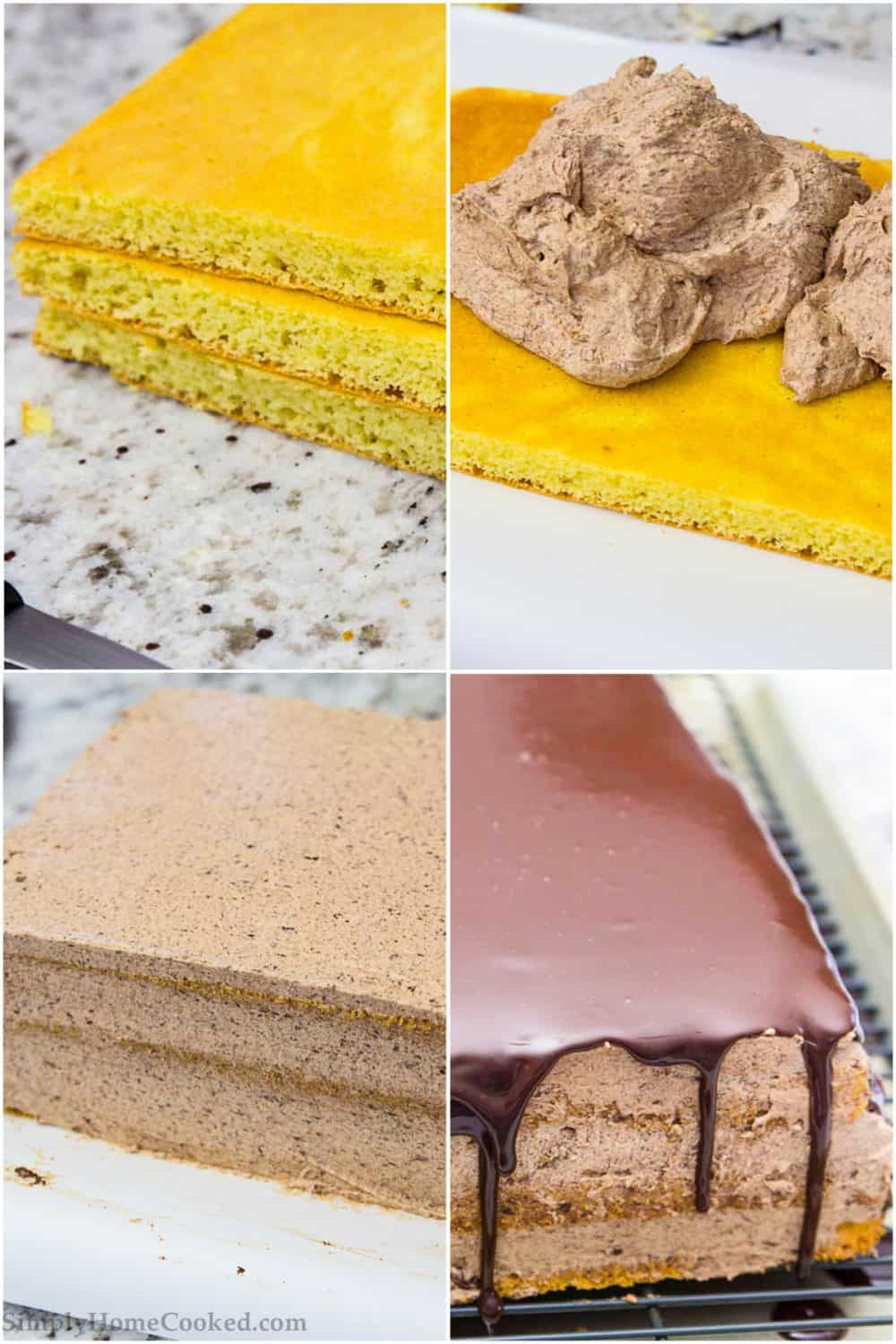a step by step photo collage of how to assemble an easy opera cake
