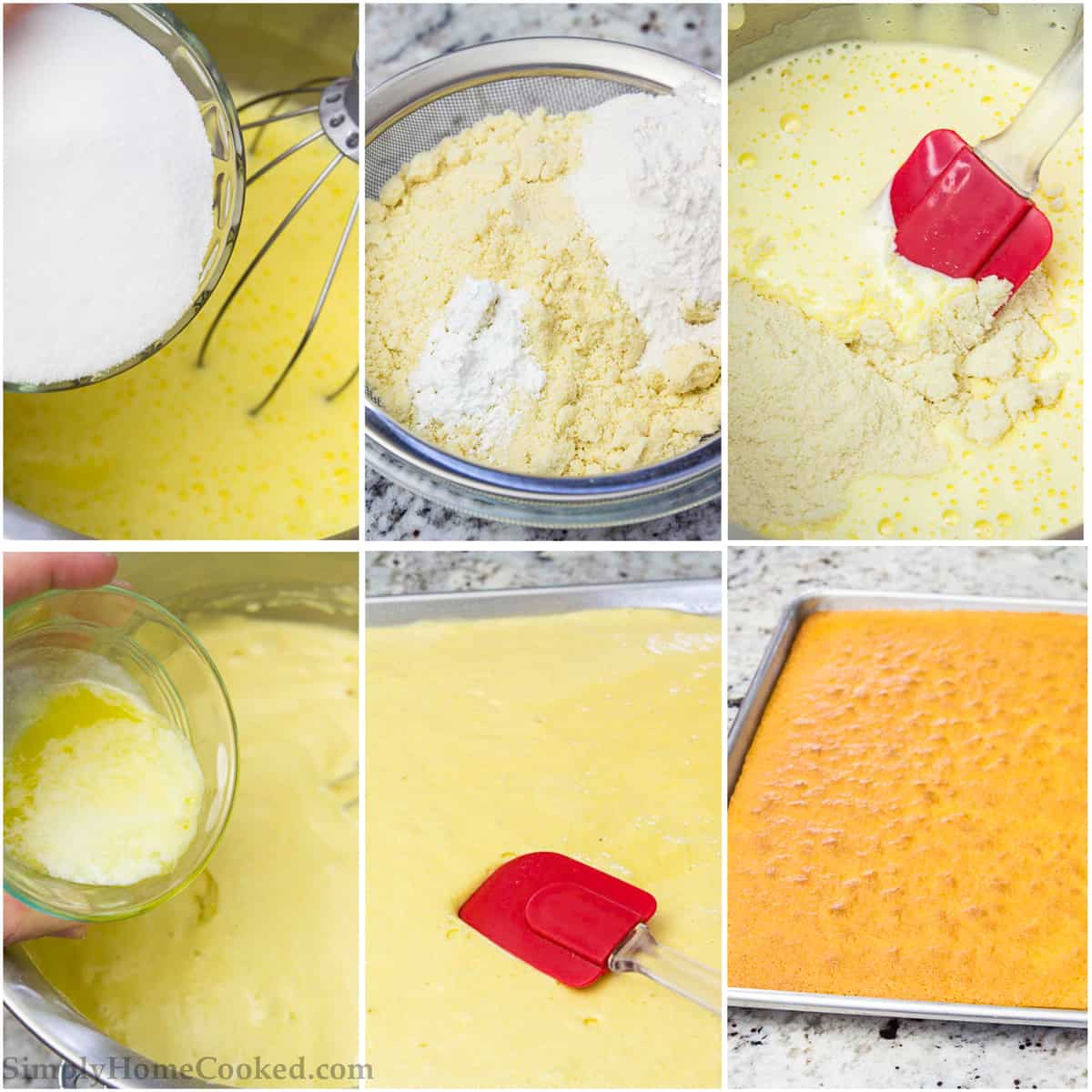 a step by step photo collage of how to make a sponge cake for opera cake