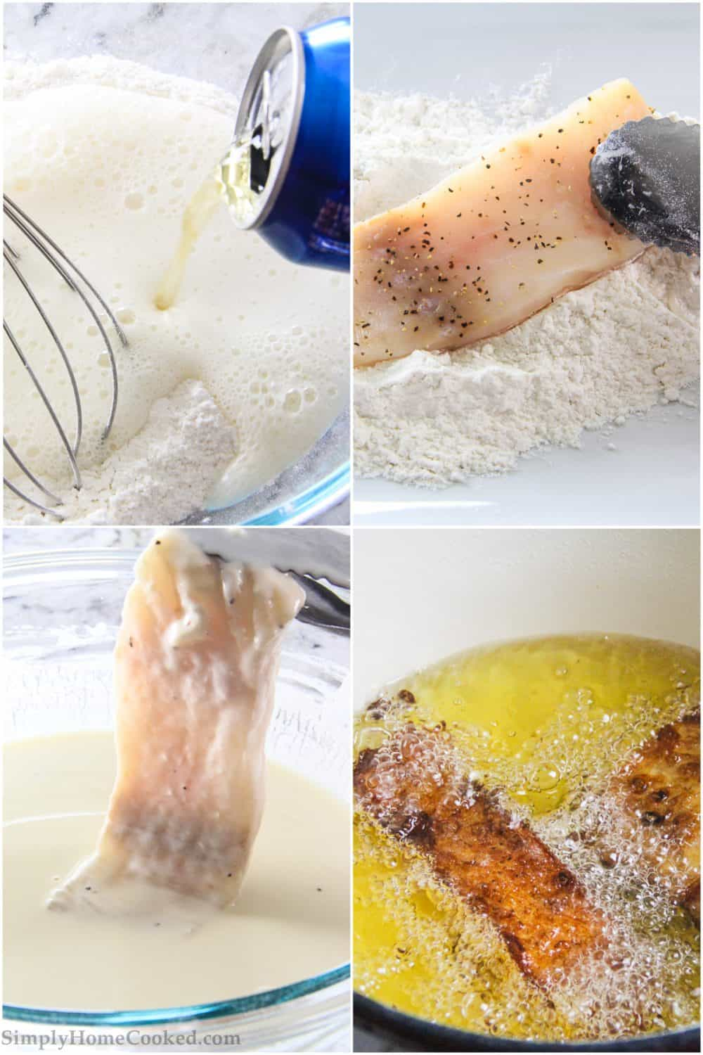 Step by step picture collage tutorial of preparing beer batter and cooking fish to create the beer battered cod