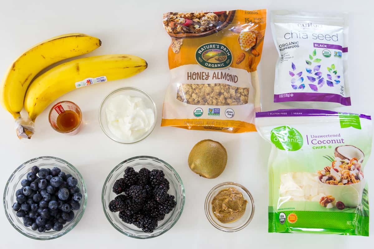 ingredients for blueberry smoothie bowl