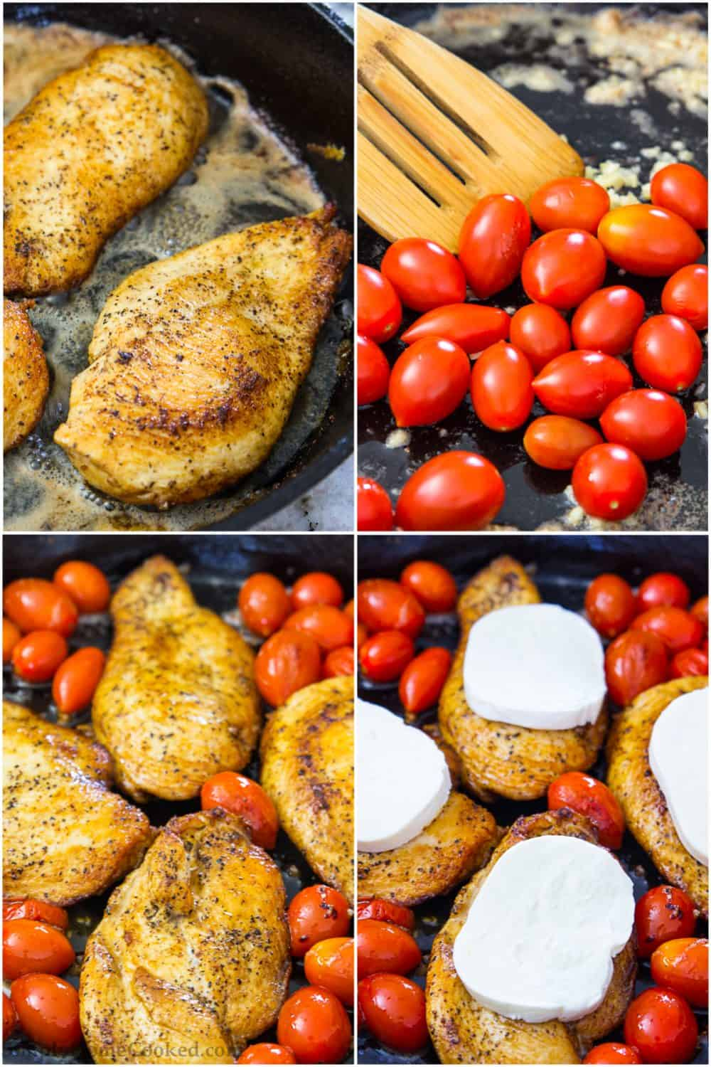steps to make caprese skillet chicken
