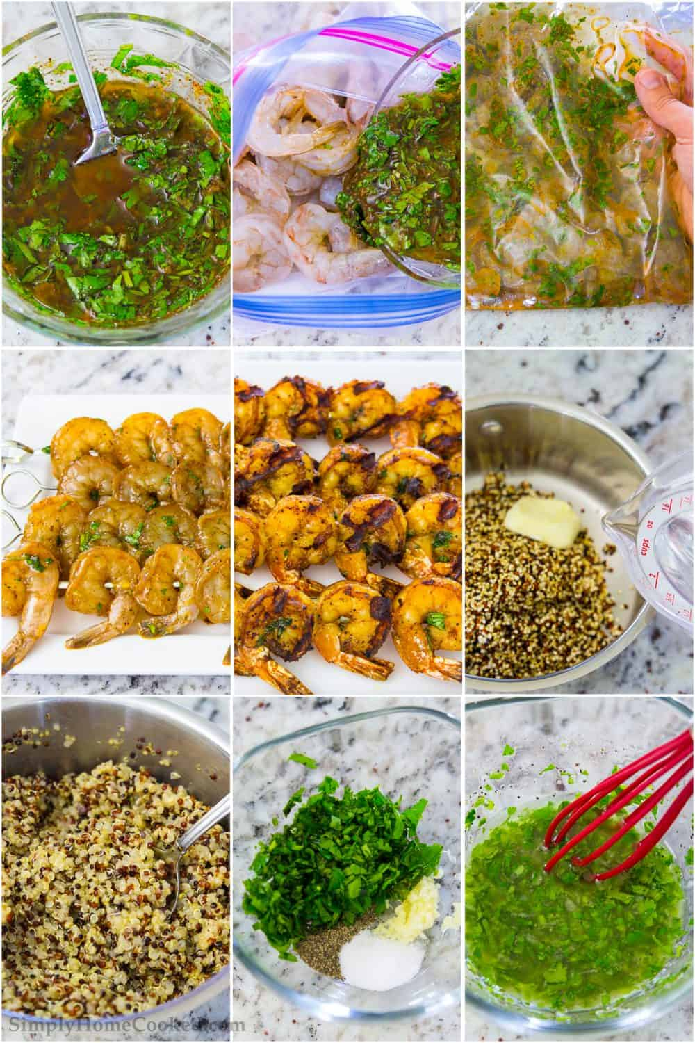 Step by step photo collage of marinating and cooking shrimp and quinoa for the shrimp quinoa bowls topped with cilantro lime dressing