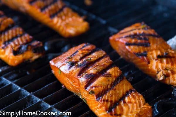 Grilled Teriyaki Salmon on a grill