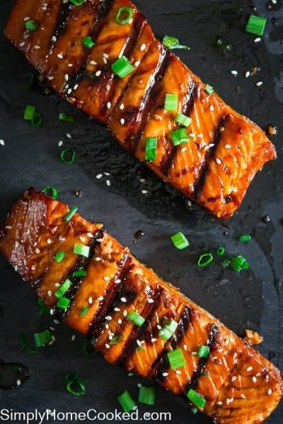 Grilled Teriyaki Salmon with green onions and sesame seeds