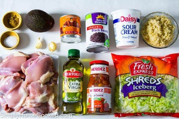 ingredients for a chipotle chicken bowl