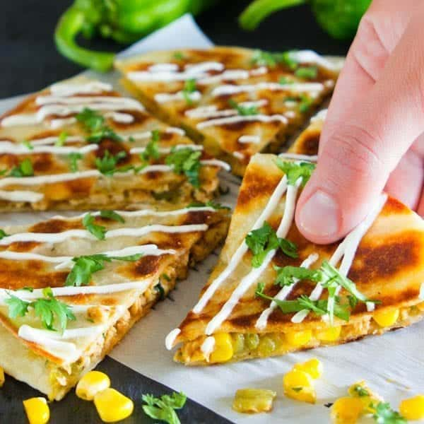 Hatch Chili Chicken Quesadillas - Simply Home Cooked