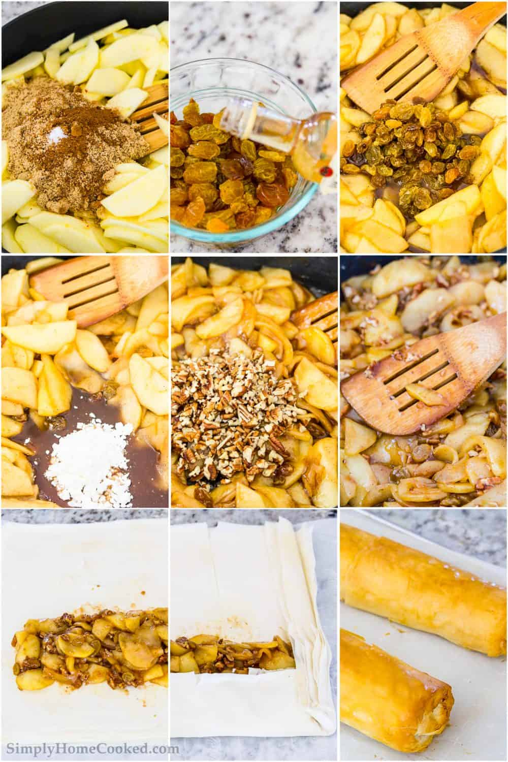 Step by step photo collage of steps to cook apples and roll apple strudel prior to cooking