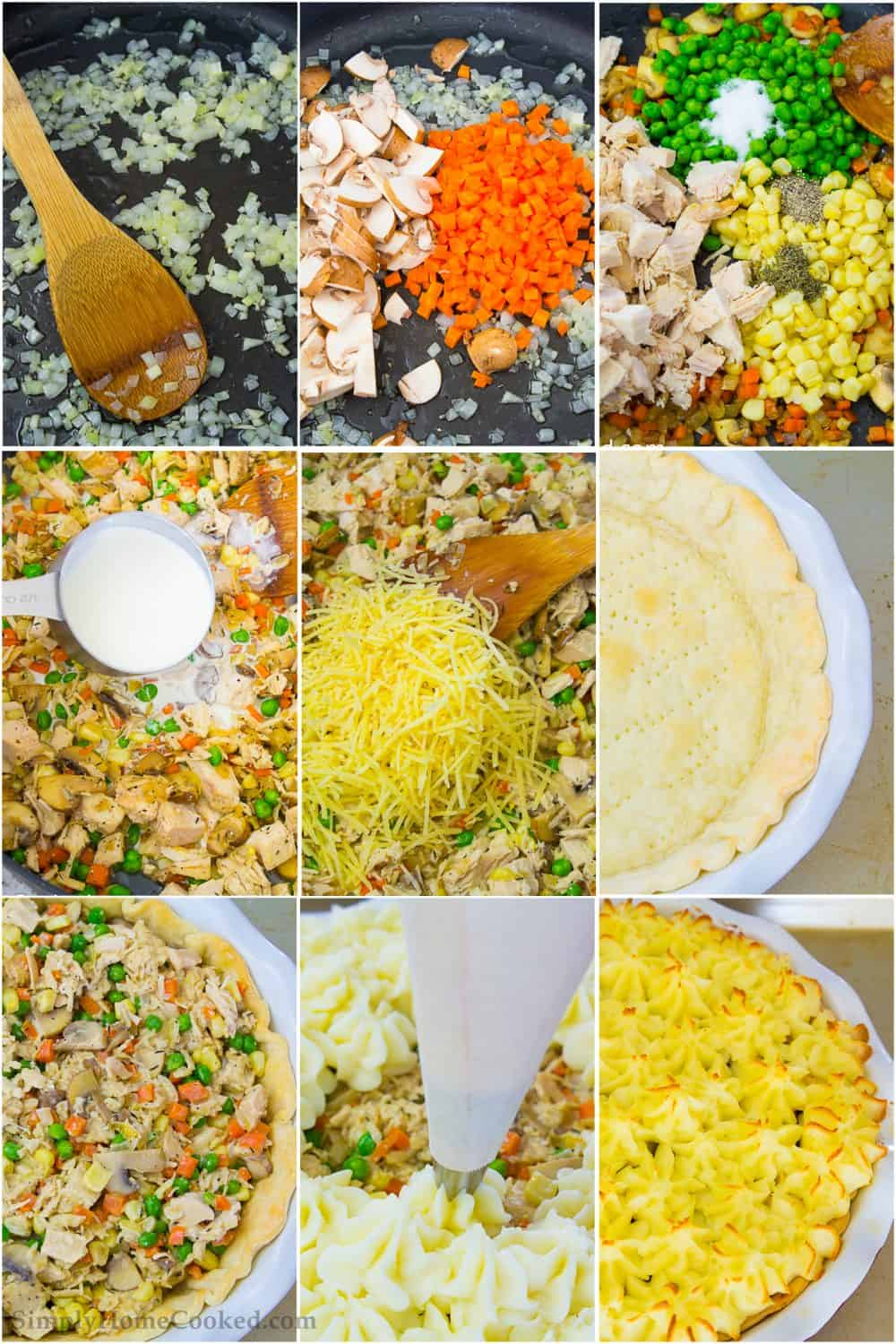 a photo collage of steps on how to make the best turkey shepherds pie suing Thanksgiving leftovers
