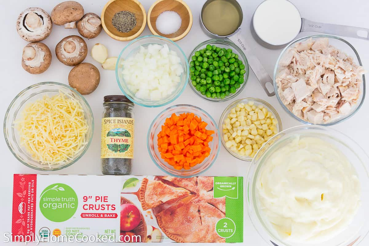 an overhead image of turkey shepherds pie ingredients on a white background
