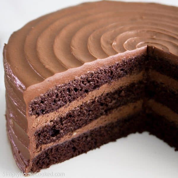 Nutella cake with a slice of cake cut out