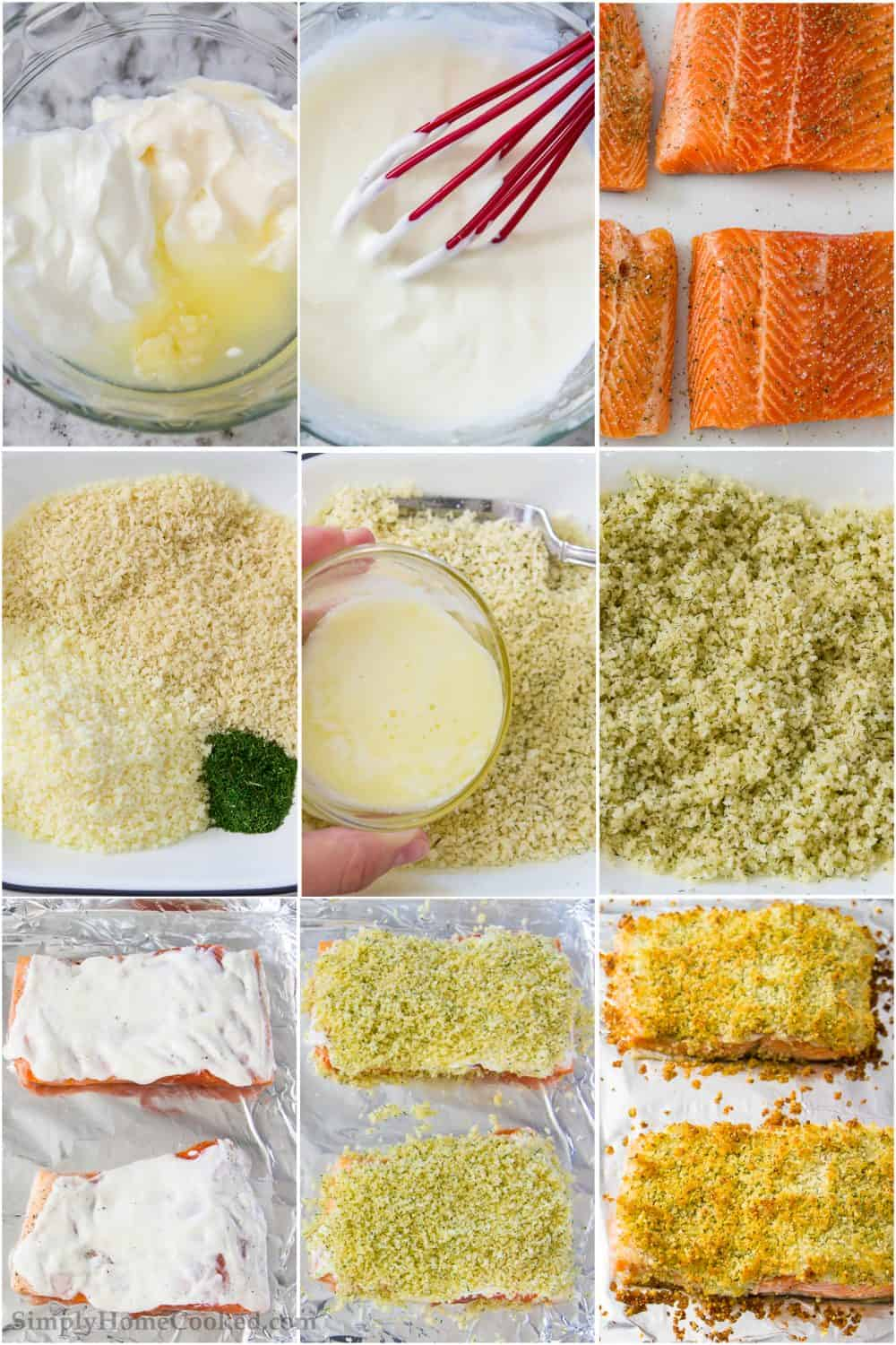steps to make panko crusted salmon. Breaded salmon fillets on a baking sheet